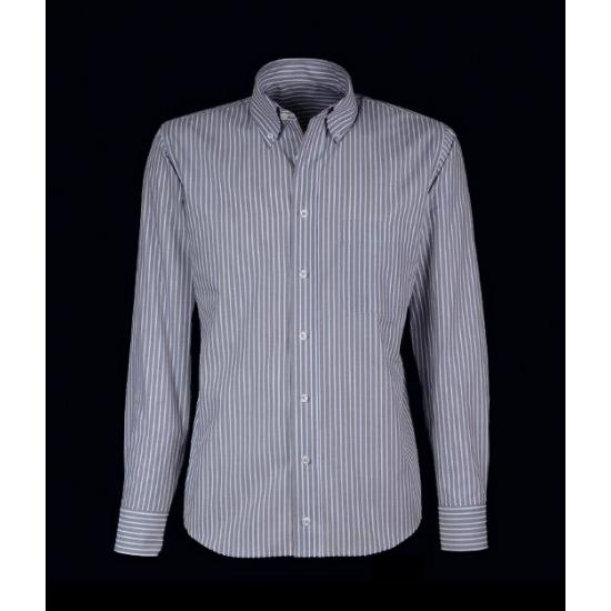 Giovanni Capraro Heren grijs overhemd met krijtstreep Overhemden