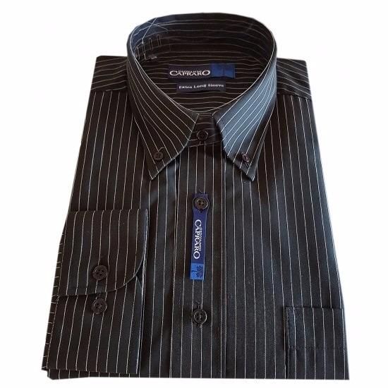 Overhemden Heren zwart overhemd met krijtstreep