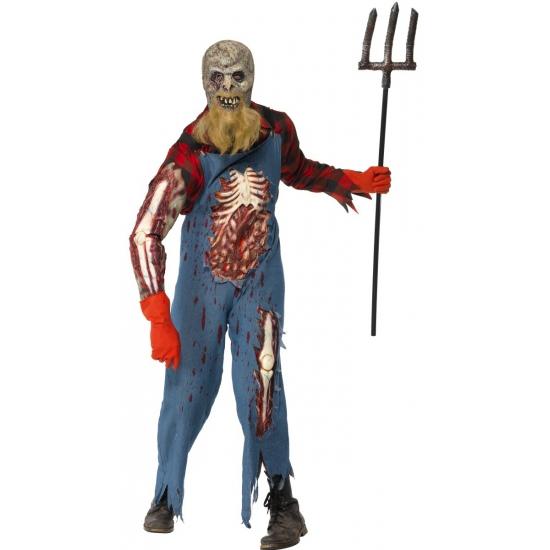 Hill Billy Boer zombie kostuum met wond