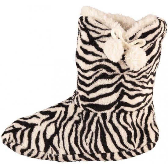 Hoge dames slof sokken met zebra print zwart wit Bellatio Sloffen en Pantoffels
