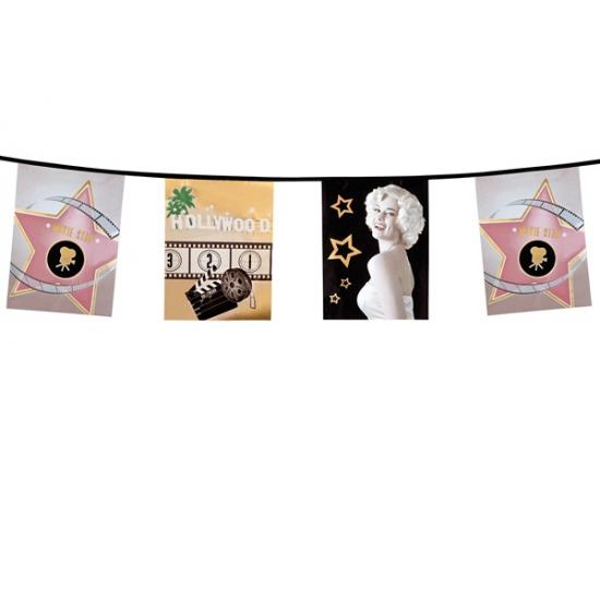 Thema feestartikelen Bellatio Hollywood feest vlaggenlijn 6 m