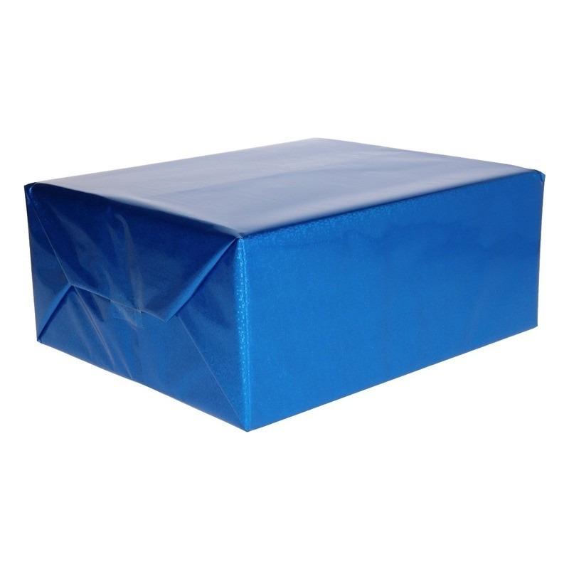 Holografisch inpakpapier blauw metallic 70 x 150 cm