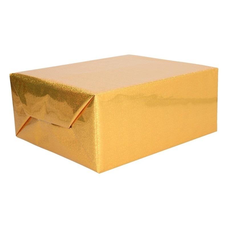 Holografisch inpakpapier goud metallic 70 x 150 cm