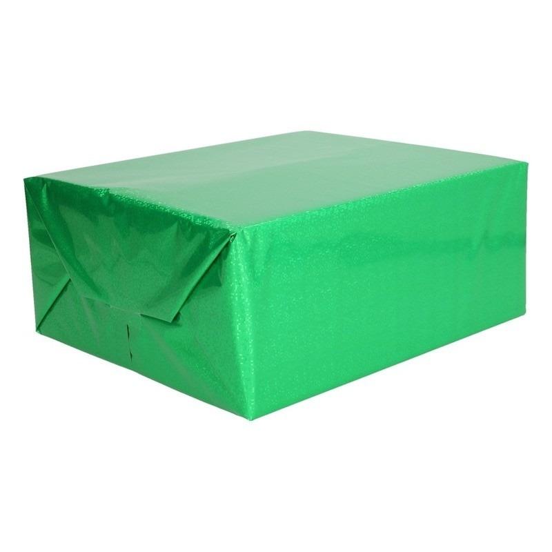 Holografisch inpakpapier groen metallic 70 x 150 cm