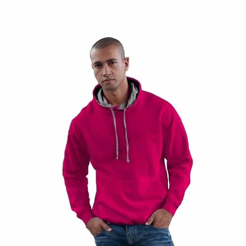 Truien en sweaters AWDis Hooded sweater roze met grijs