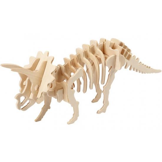 Houten 3D puzzel Triceratops met app