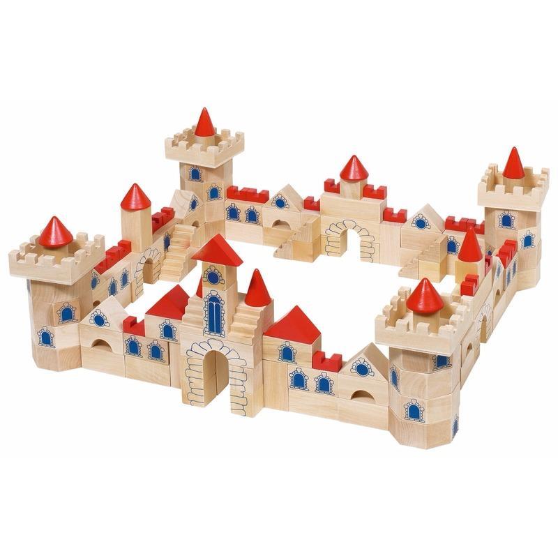 Houten bouw kasteel 145-delig