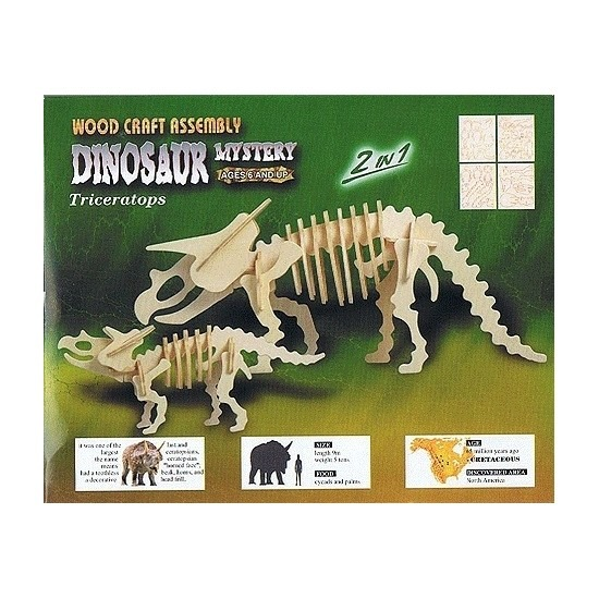 Houten bouwpakket Triceratops