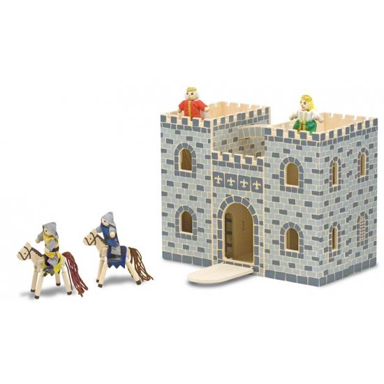 Houten kasteel met accessoires