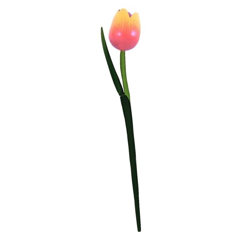 Houten tulp op steel oranje 35 cm