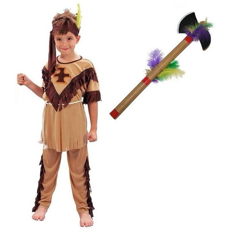 Indianen kostuum maat S met tomahawk voor kinderen