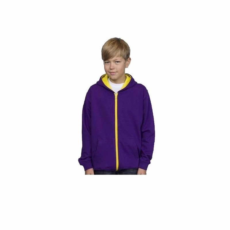Truien en sweaters Bellatio Jongens vest paars met geel