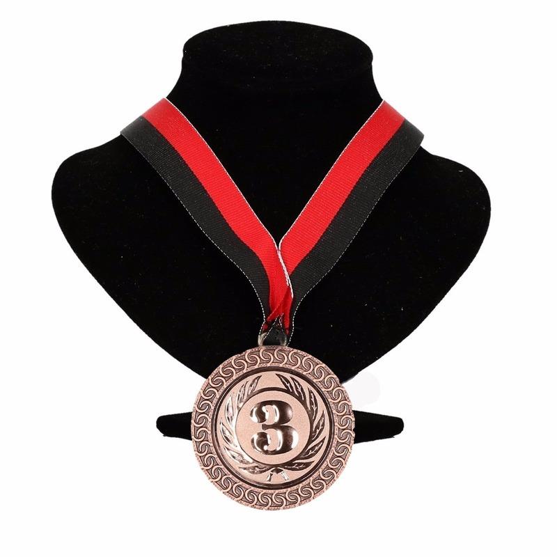 Kampioensmedaille nr. 3 aan rood en zwart lint