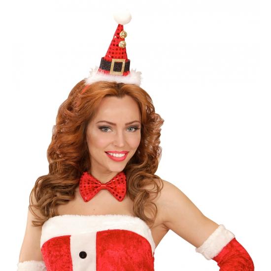 Kerst diadeem mini kerst hoedje met strik Rood