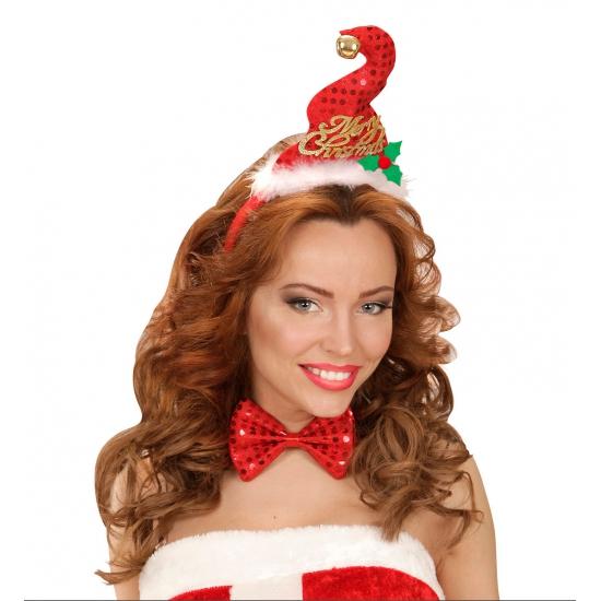 Kerst diadeem mini kerst mutsje met strik