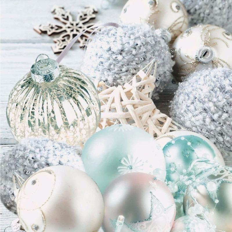 Kerst servetten kerstballen thema