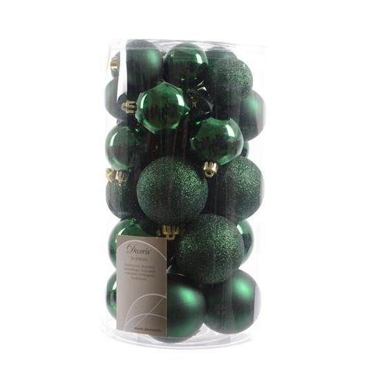 Kerst feestartikelen Kerstballen mix donkergroen 30 stuks
