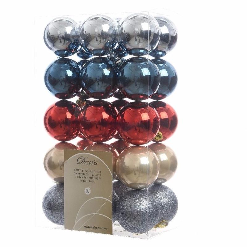 Kerstboom decoratie kerstballen mix blauw-rood 30 stuks