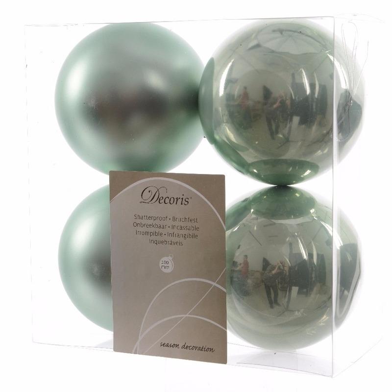 Kerstboom decoratie kerstballen mix mint 4 stuks