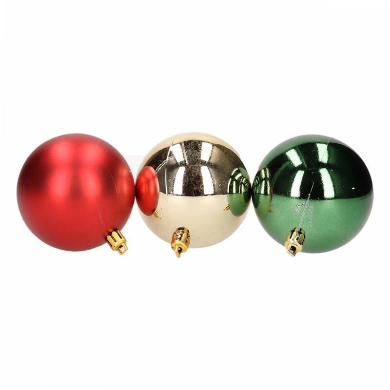 Kerstboom decoratie kerstballen mix rood-groen 9 stuks
