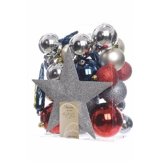 Kerstboom decoratie kerstballen set zilver-rood-blauw 33 stuks