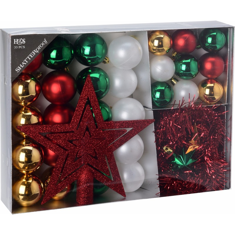 Kerstboom decoratie set 33 delig Moods Classics
