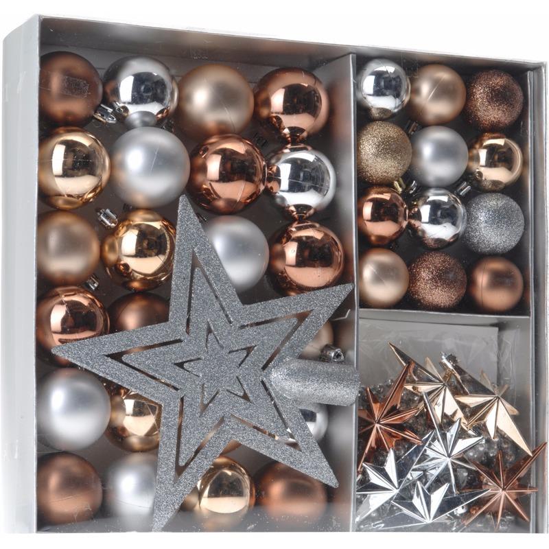 Geen Kerstboom decoratie set 45 delig brons zilver goud Kerst feestartikelen