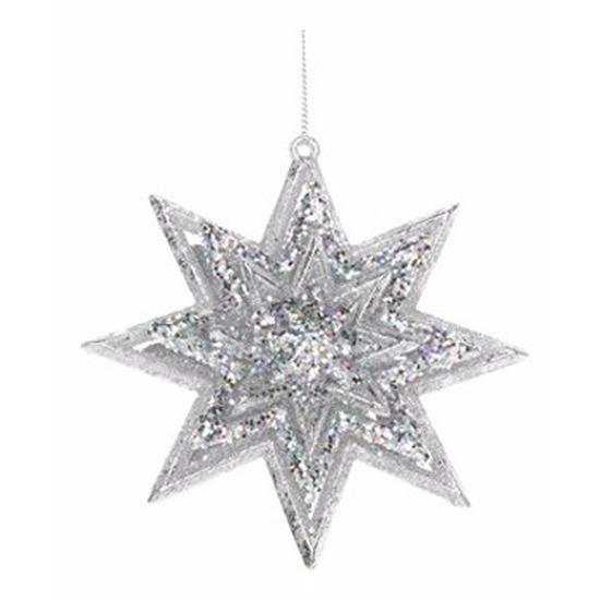 Kerst feestartikelen Geen Kerstboom decoratie zilveren 3D ster hanger 11 cm