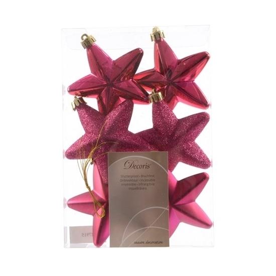 Kerstboom hangers roze sterren 6x Bellatio Het leukste