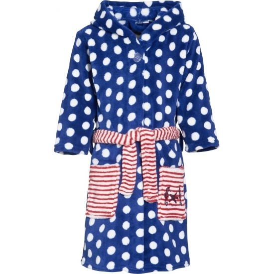 Kinder badjas blauw met stippen Playshoes Schitterend