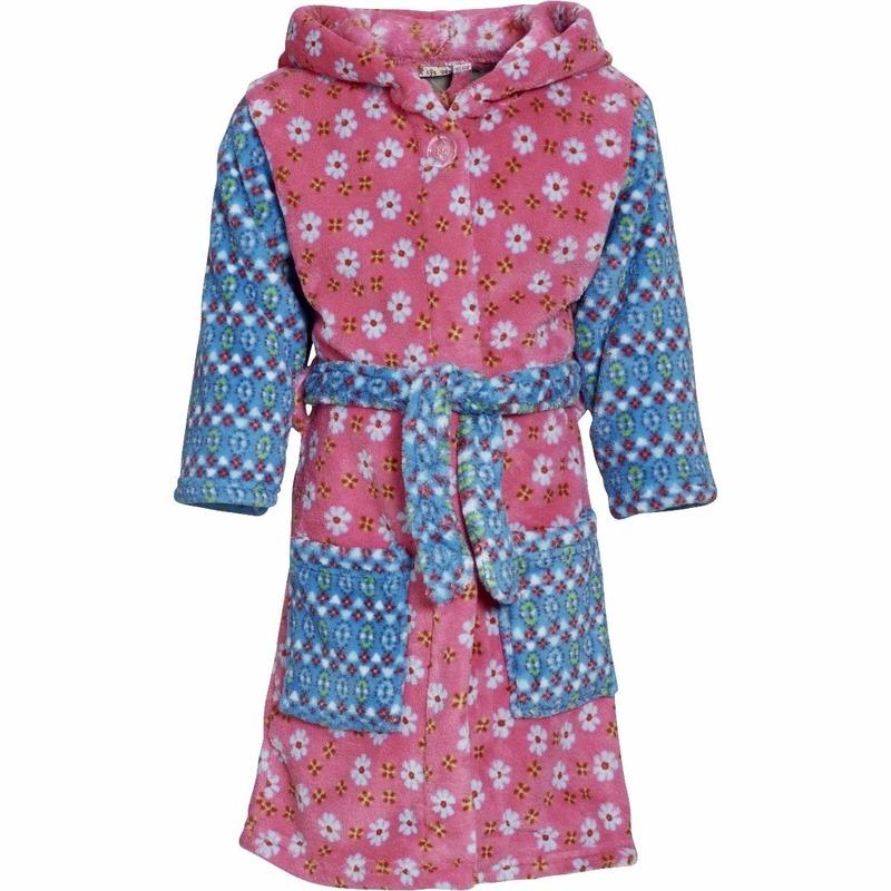 Kinder badjas roze blauw met bloemen Playshoes Kleding accessoires