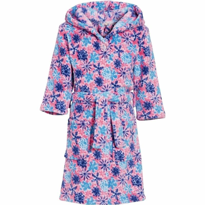 Kleding accessoires Playshoes Kinder badjas roze met bloemen
