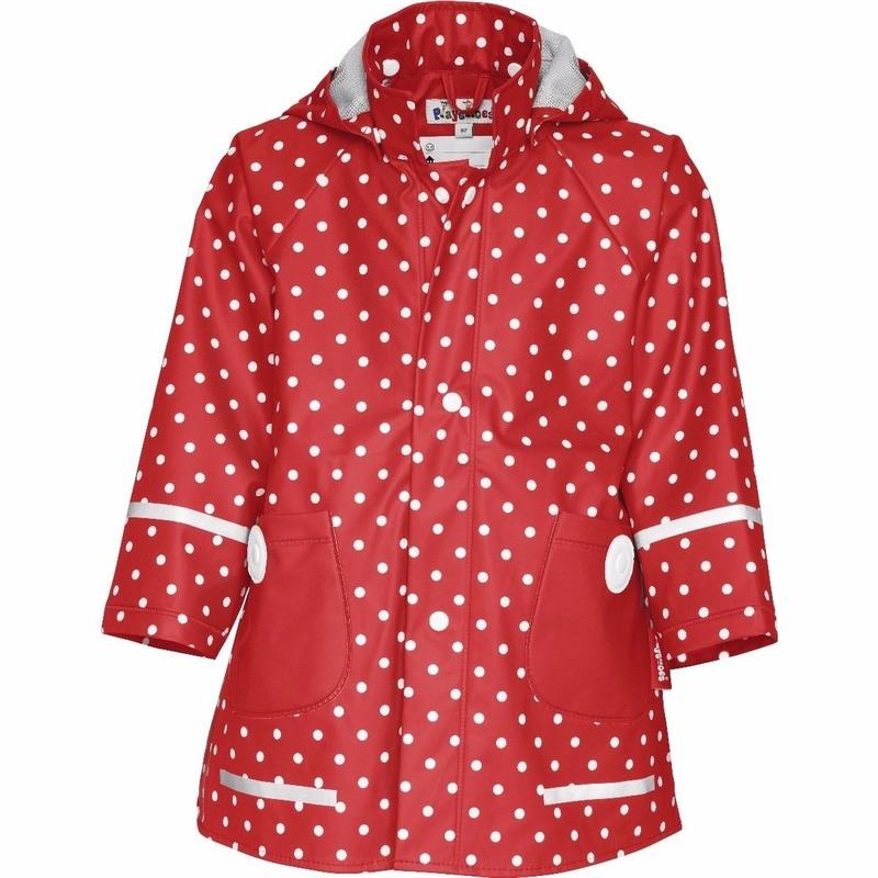 Regenpakken en poncho Playshoes Kinder regenjas rood met witte stip design