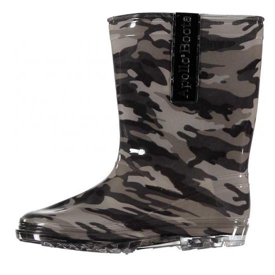 Kinder regenlaarzen met camouflage print grijs Bellatio Schoenen en laarzen