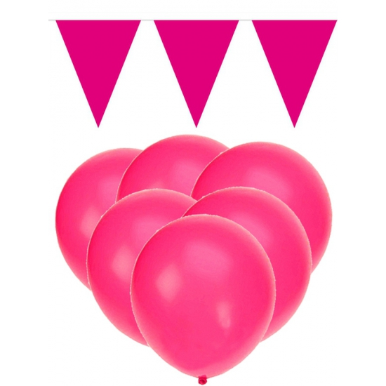 Knal roze versiering 15 ballonnen en 2 vlaggenlijnen