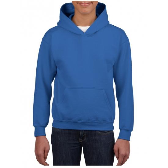 Truien en sweaters Gildan Kobalt blauwe capuchon sweater voor jongens
