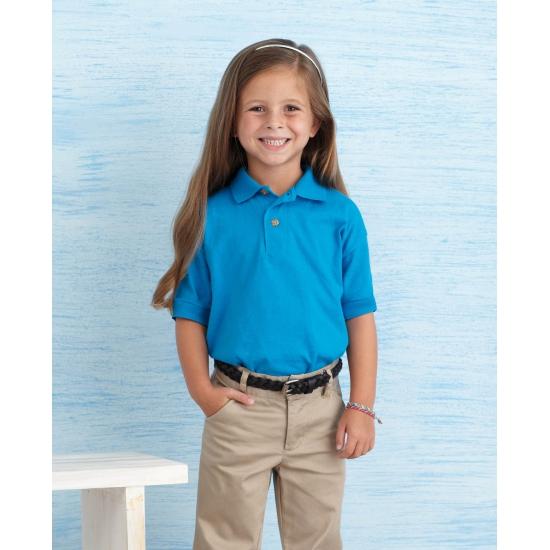 Kobalt blauwe poloshirt voor meisjes Gildan Schitterend