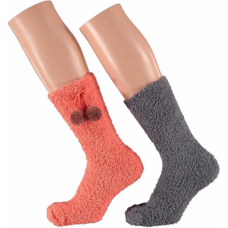 Sokken en Panty's Koraal oranje en grijze dames huissokken 2 paar