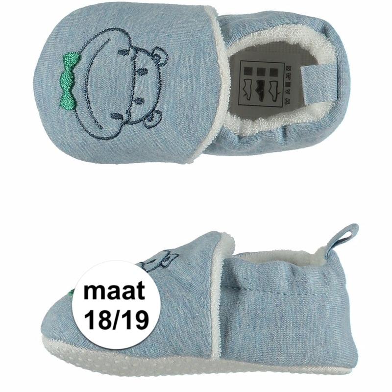 Sloffen en Pantoffels Apollo Lichtblauwe babyslofjes met nijlpaard maat 18 19