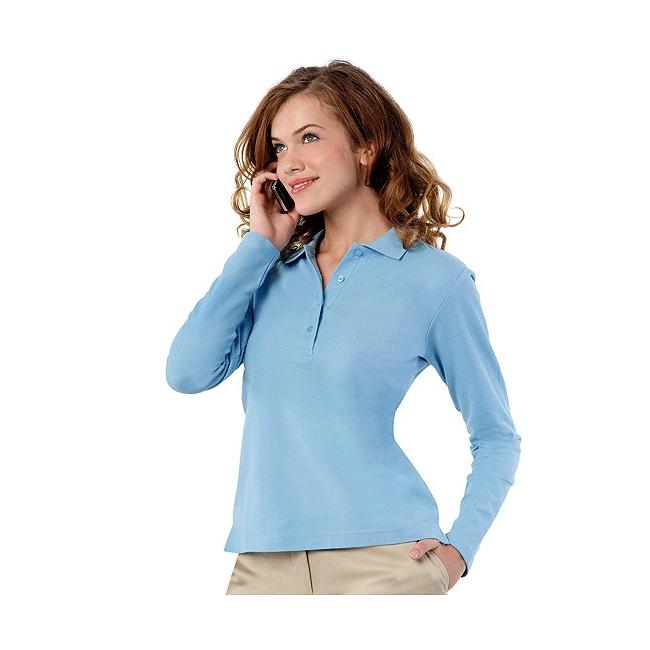 Sols Lichtblauwe dames poloshirt lange mouw T shirts en poloshirts