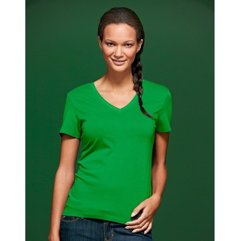 Lime dames stretch t shirt met V hals James Nicholson T shirts en poloshirts