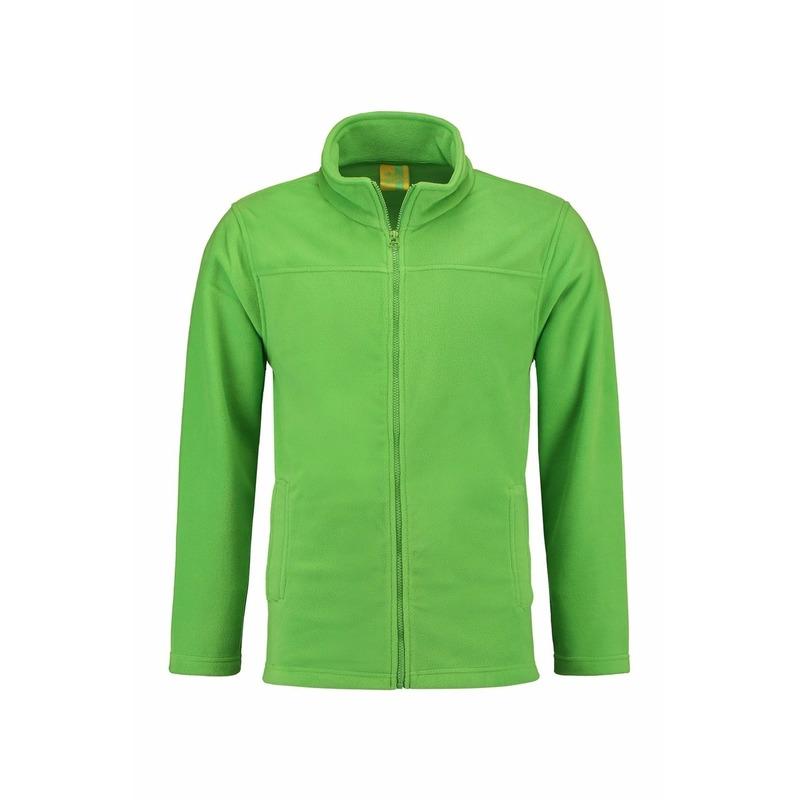 Lime fleece vest met rits voor volwassenen L S Truien en sweaters