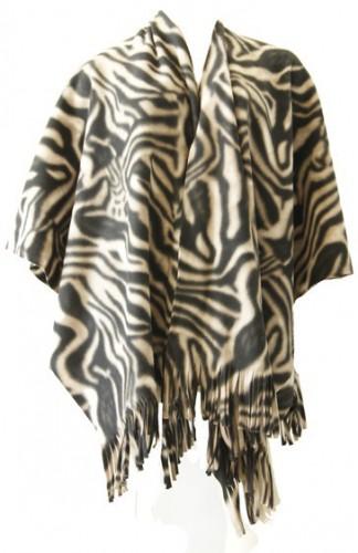 Truien en sweaters Boris Luxe dames omslag poncho zebraprint