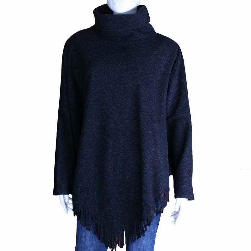 Truien en sweaters Boris Luxe dames omslag ponchotrui antraciet