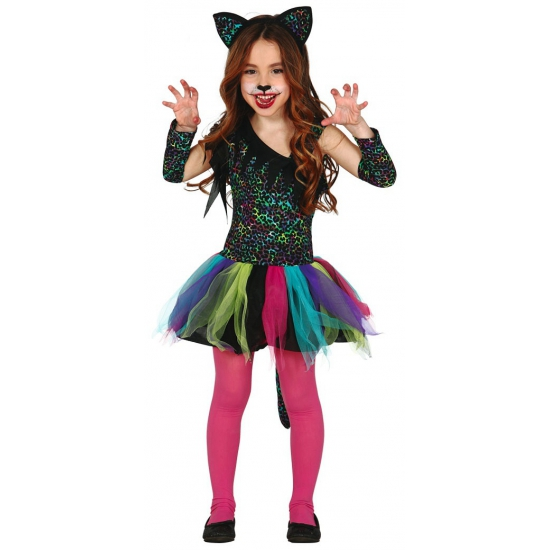 Luxe gekleurd luipaard carnaval / halloween jurkje voor meisjes