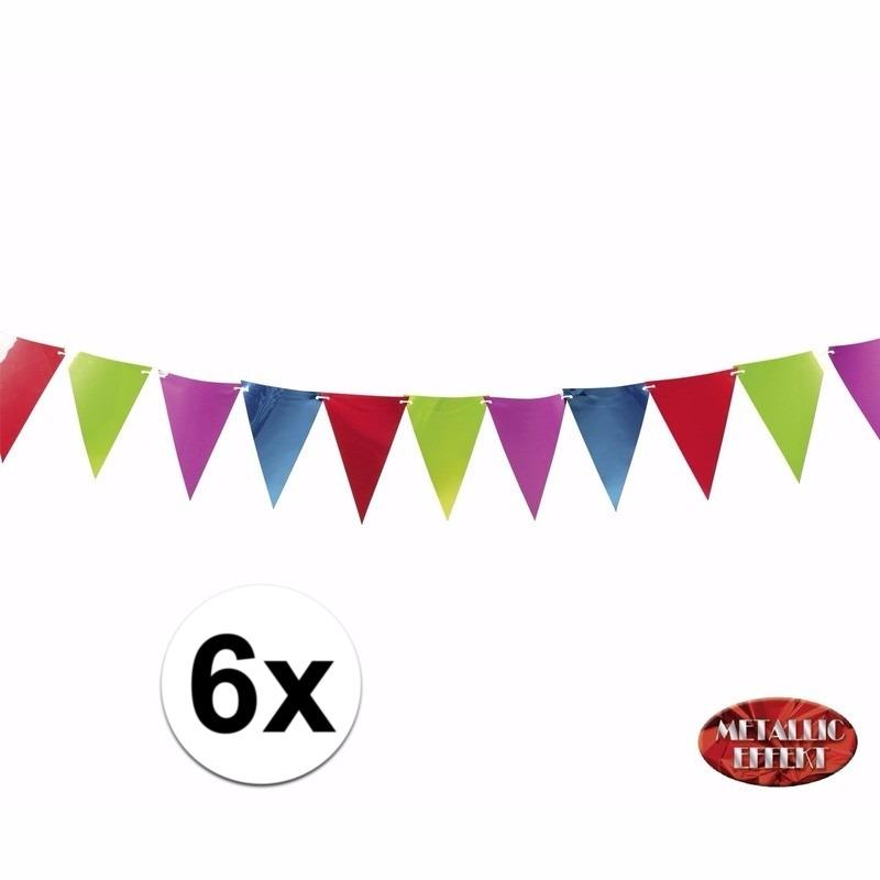 Metallic gekleurde feestvlaggetjes 3.6 mtr