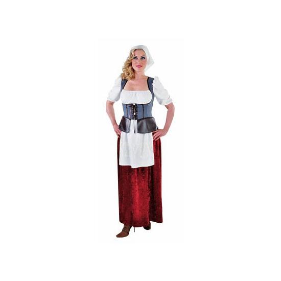 Middeleeuwse boerin kostuum voor dames 36 (S) Multi