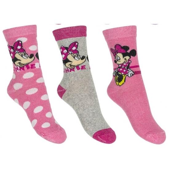 Sokken en Panty's Minnie Mouse meisjes sokken 3 pak lichtroze