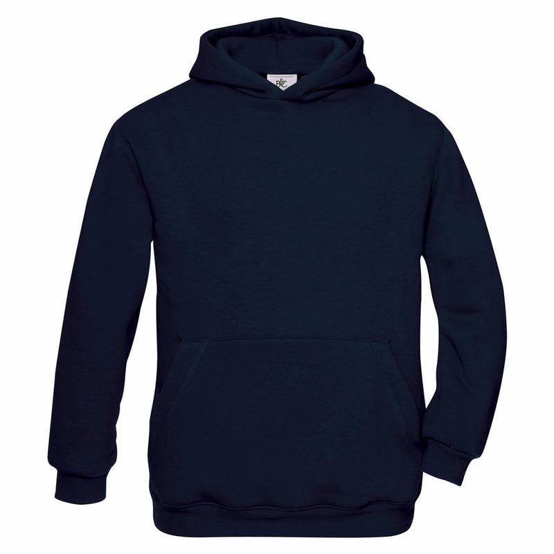 Truien en sweaters B C Navy blauwe katoenmix sweater met capuchon voor meisjes