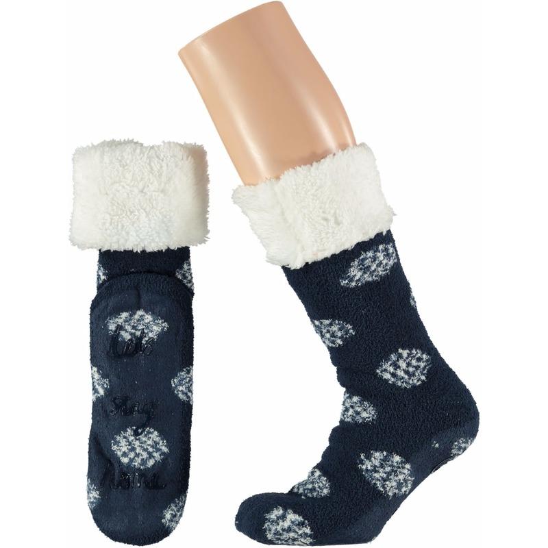 Navy dames huissokken Lets Stay Home Apollo Sokken en Panty's